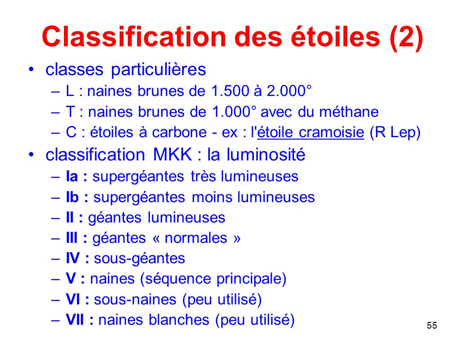 Classification des étoiles (2)