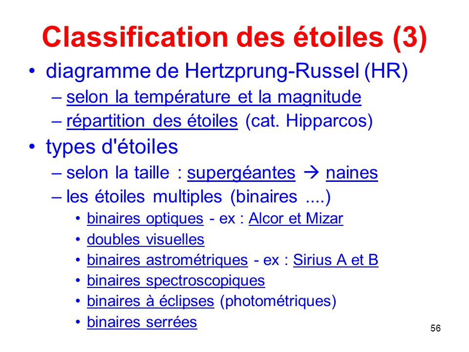 Classification des étoiles (3)