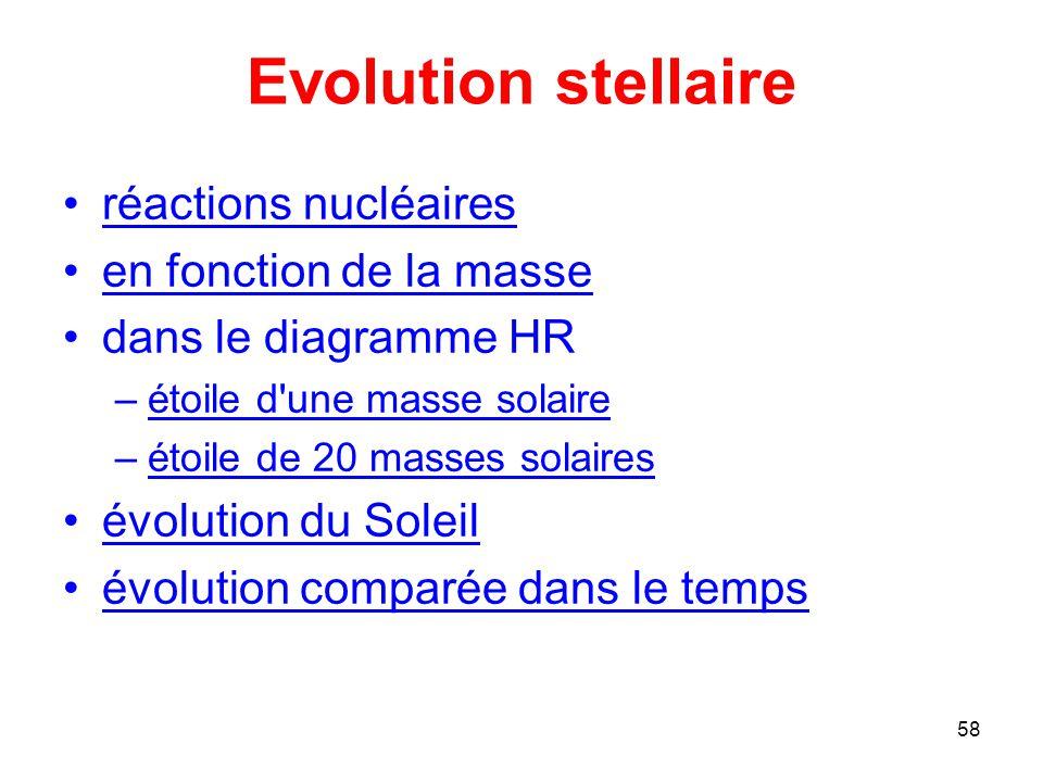 Evolution stellaire réactions nucléaires en fonction de la masse