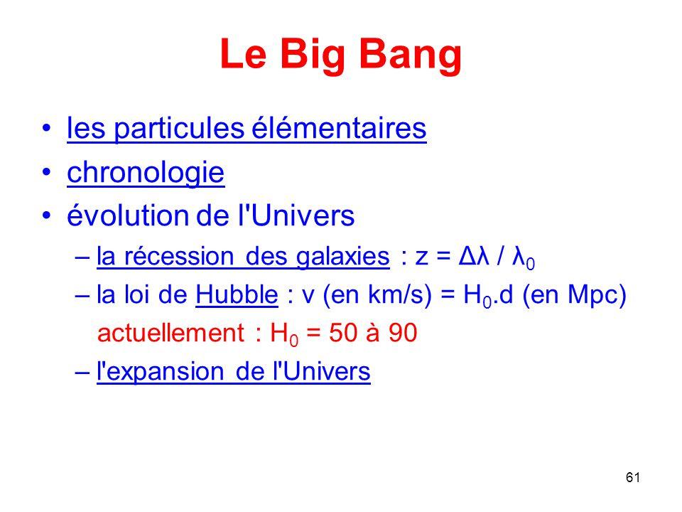 Le Big Bang les particules élémentaires chronologie