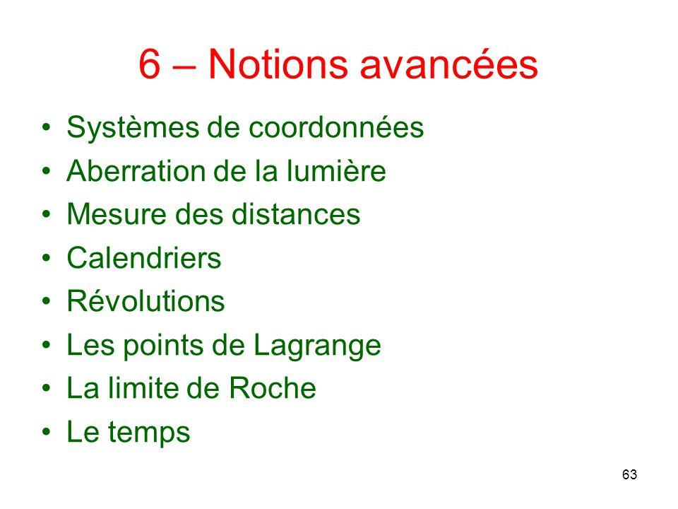 6 – Notions avancées Systèmes de coordonnées Aberration de la lumière