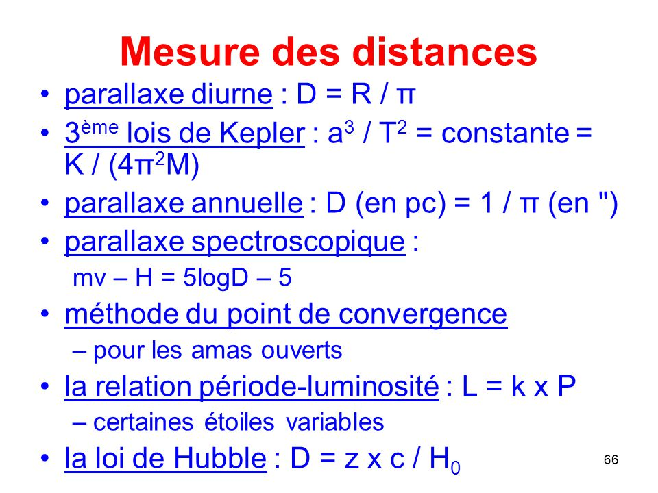Mesure des distances parallaxe diurne : D = R / π