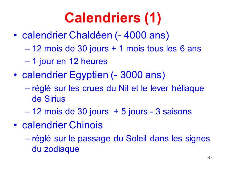 Calendriers (1) calendrier Chaldéen (- 4000 ans)