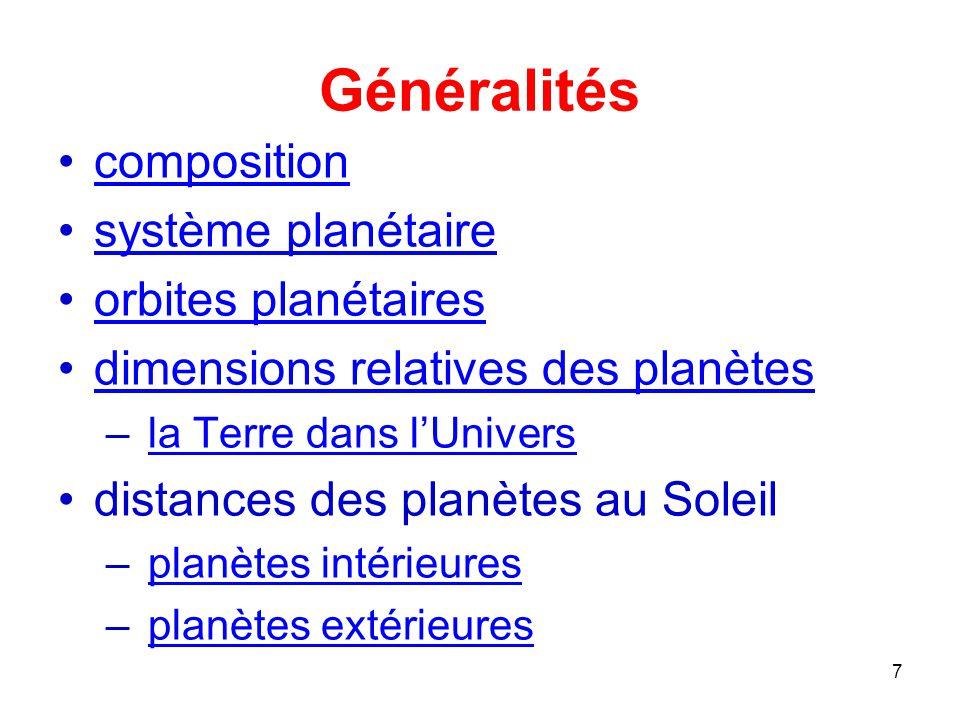Généralités composition système planétaire orbites planétaires