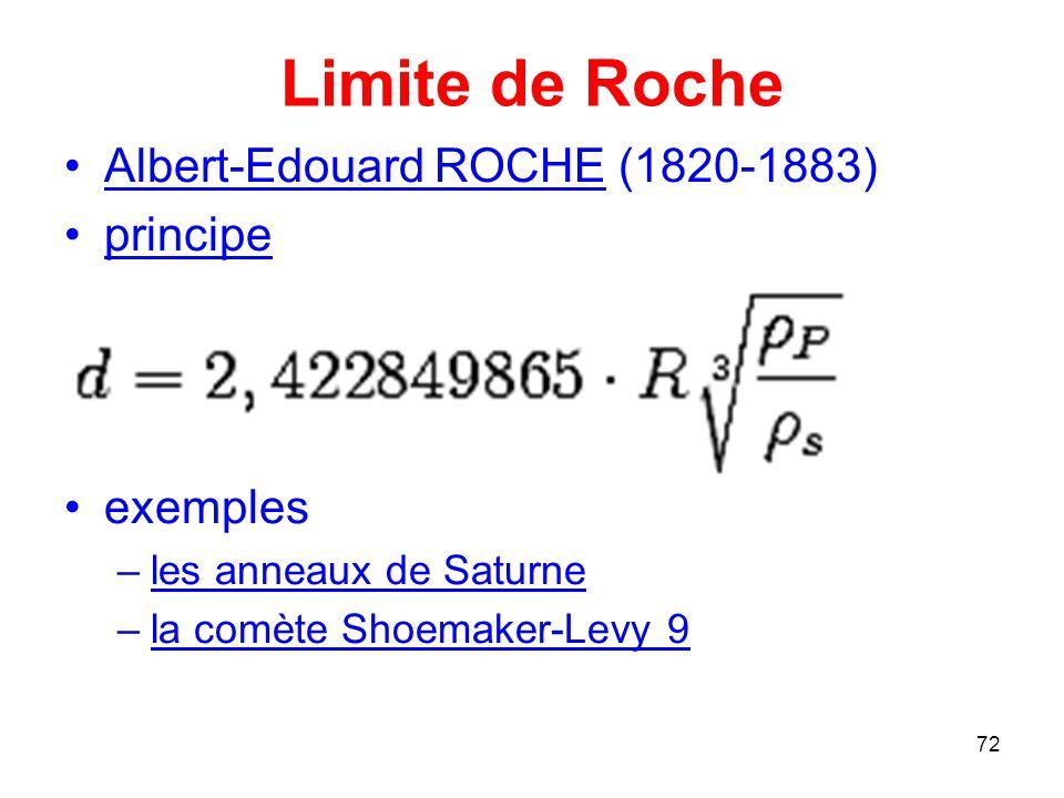 Limite de Roche Albert-Edouard ROCHE (1820-1883) principe exemples