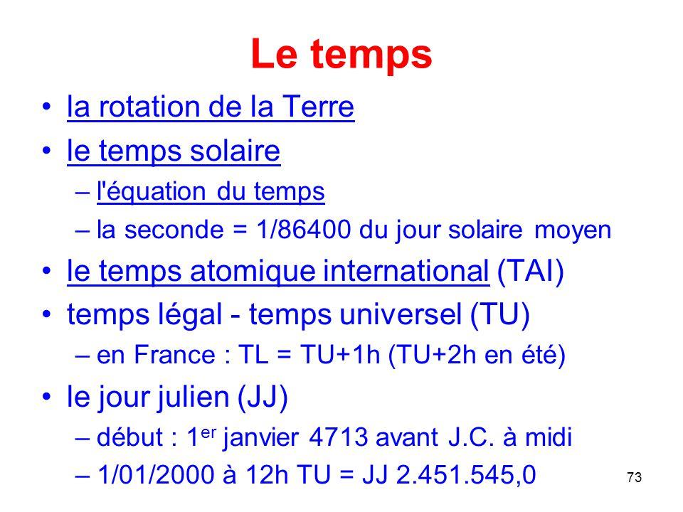 Le temps la rotation de la Terre le temps solaire