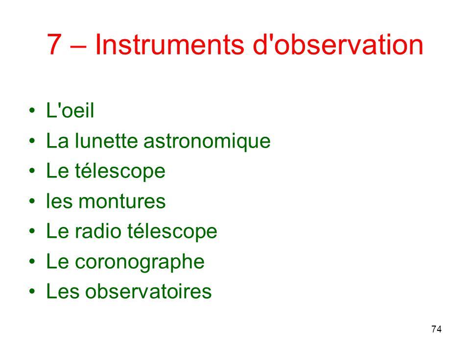 7 – Instruments d observation