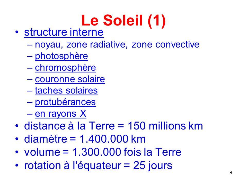Le Soleil (1) structure interne distance à la Terre = 150 millions km