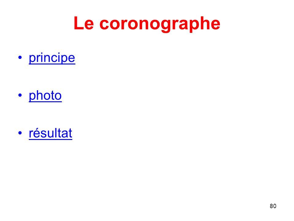 Le coronographe principe photo résultat