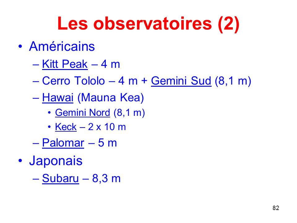 Les observatoires (2) Américains Japonais Kitt Peak – 4 m