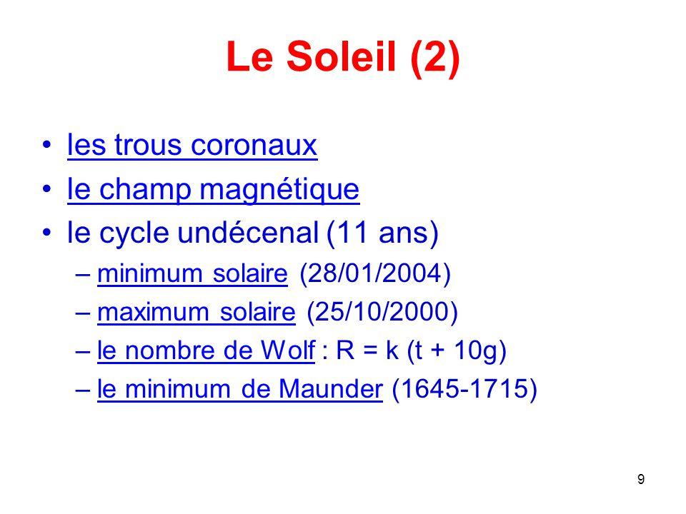 Le Soleil (2) les trous coronaux le champ magnétique
