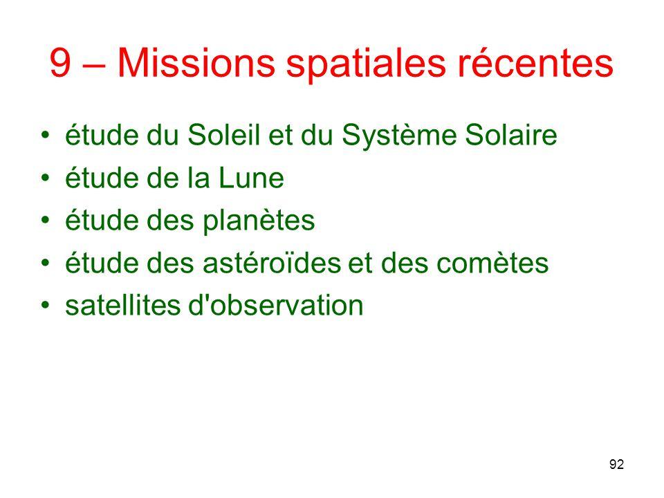 9 – Missions spatiales récentes