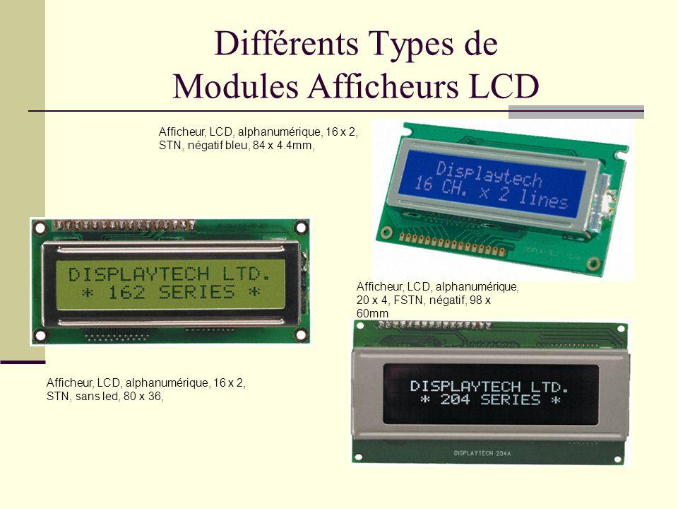 Différents Types de Modules Afficheurs LCD