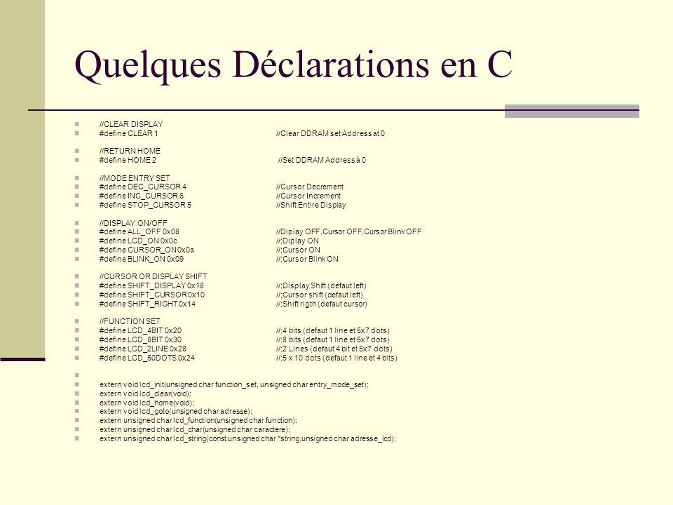 Quelques Déclarations en C
