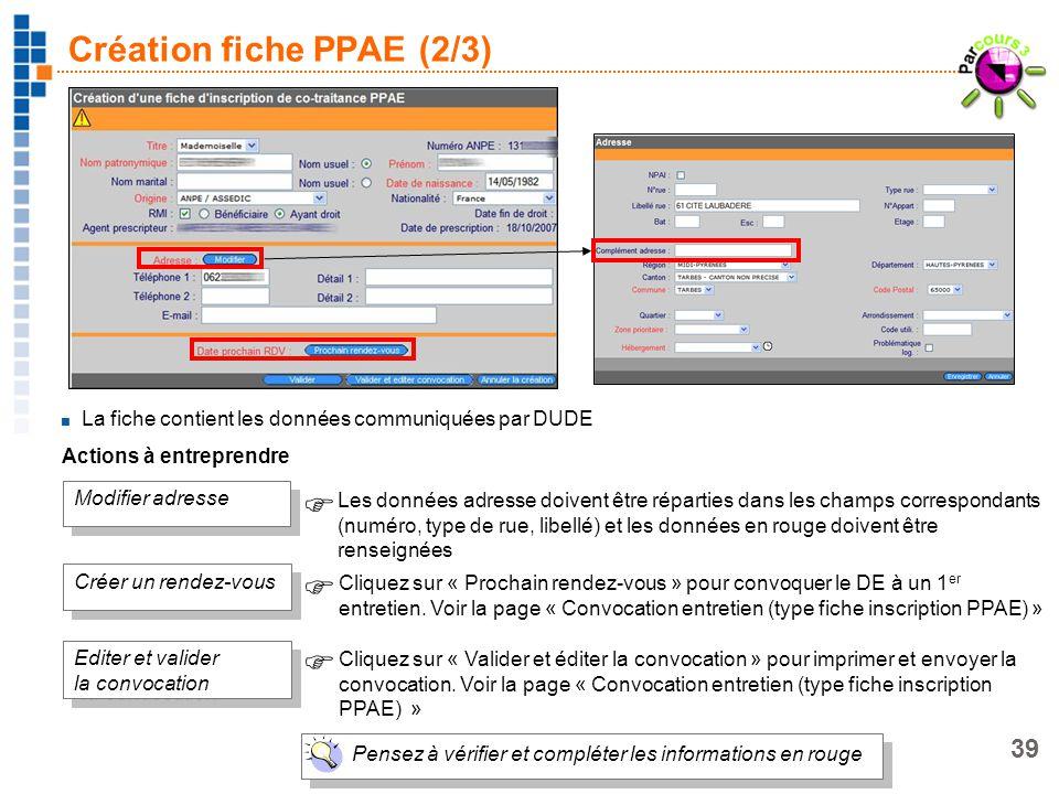 Création fiche PPAE (2/3)
