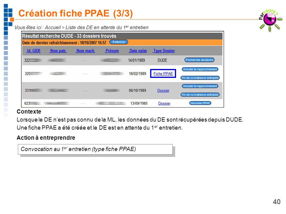 Création fiche PPAE (3/3)