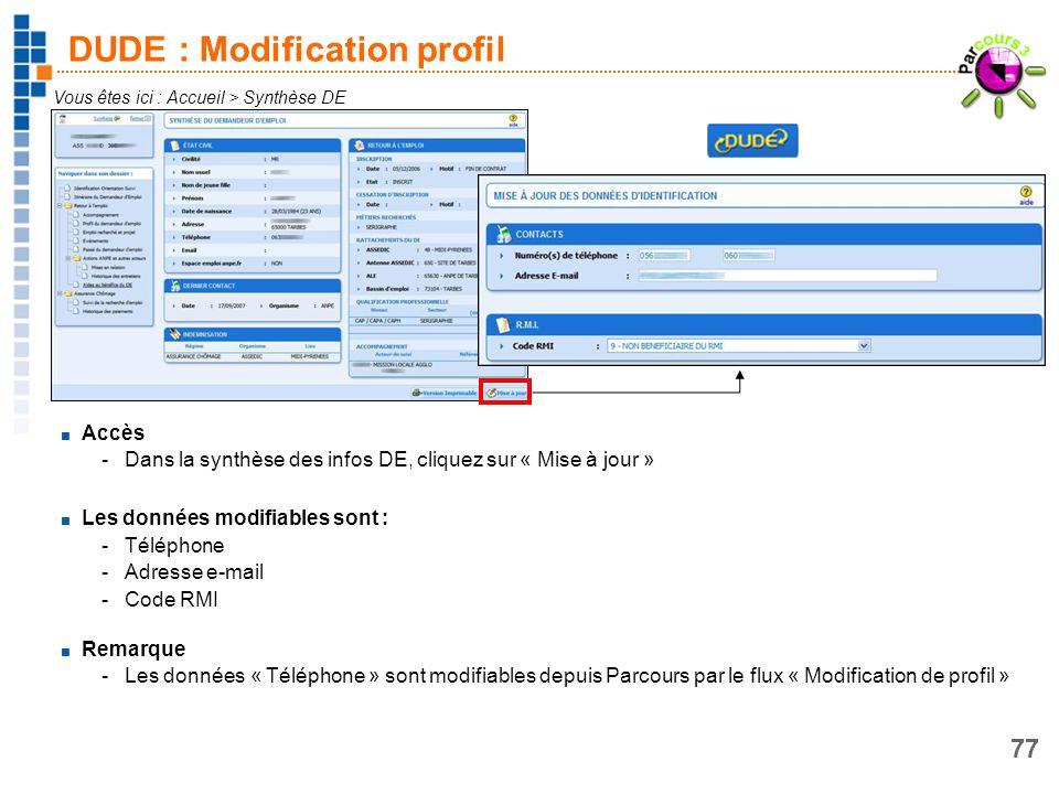DUDE : Modification profil