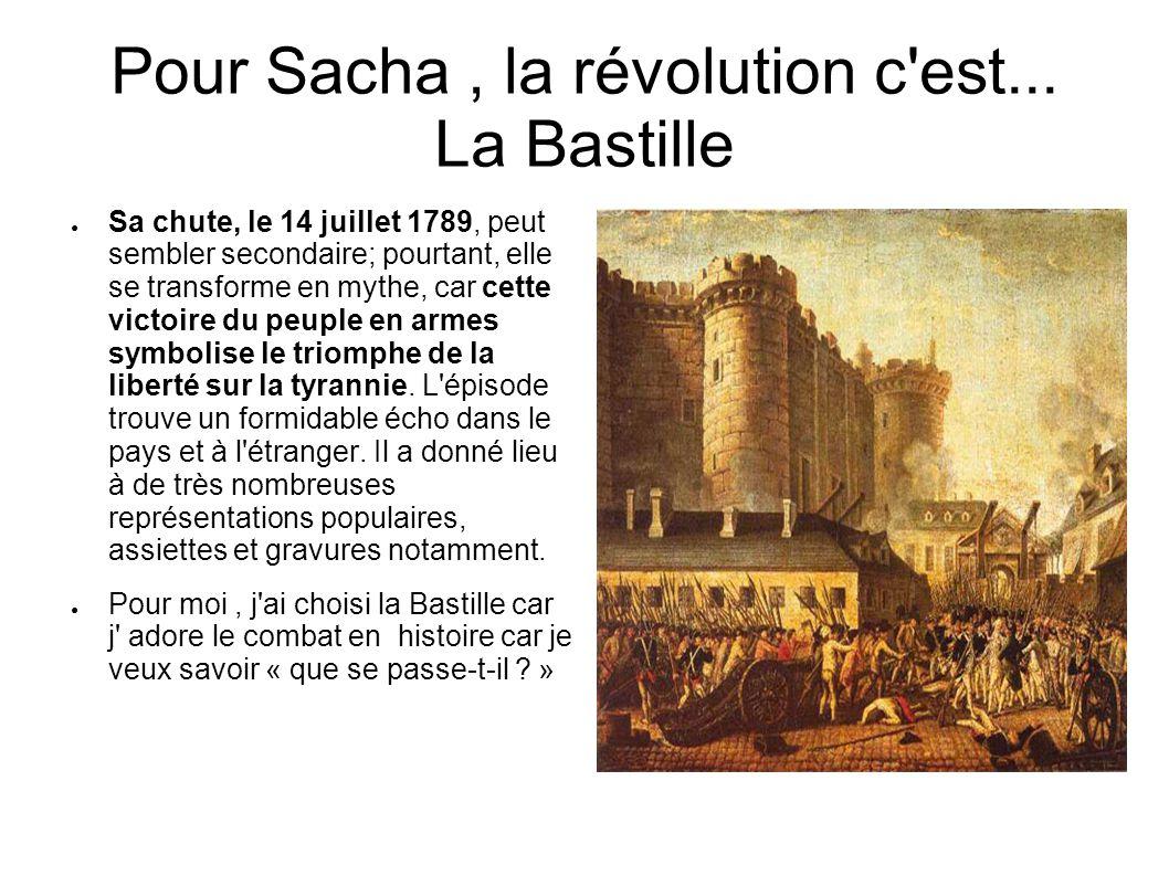 Pour Sacha , la révolution c est... La Bastille