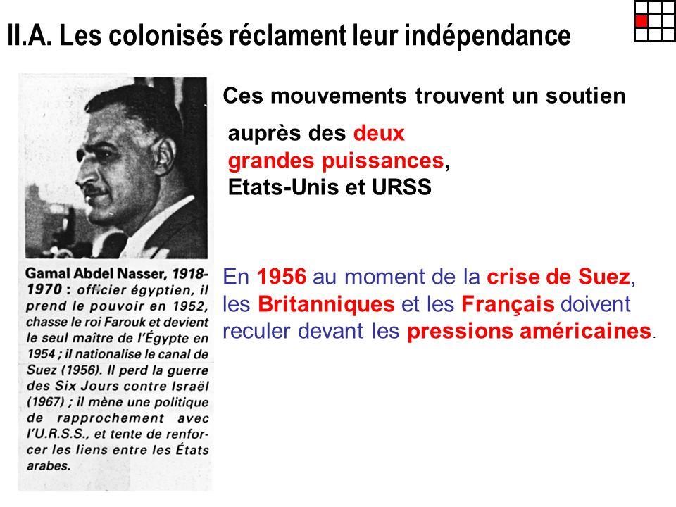 II.A. Les colonisés réclament leur indépendance