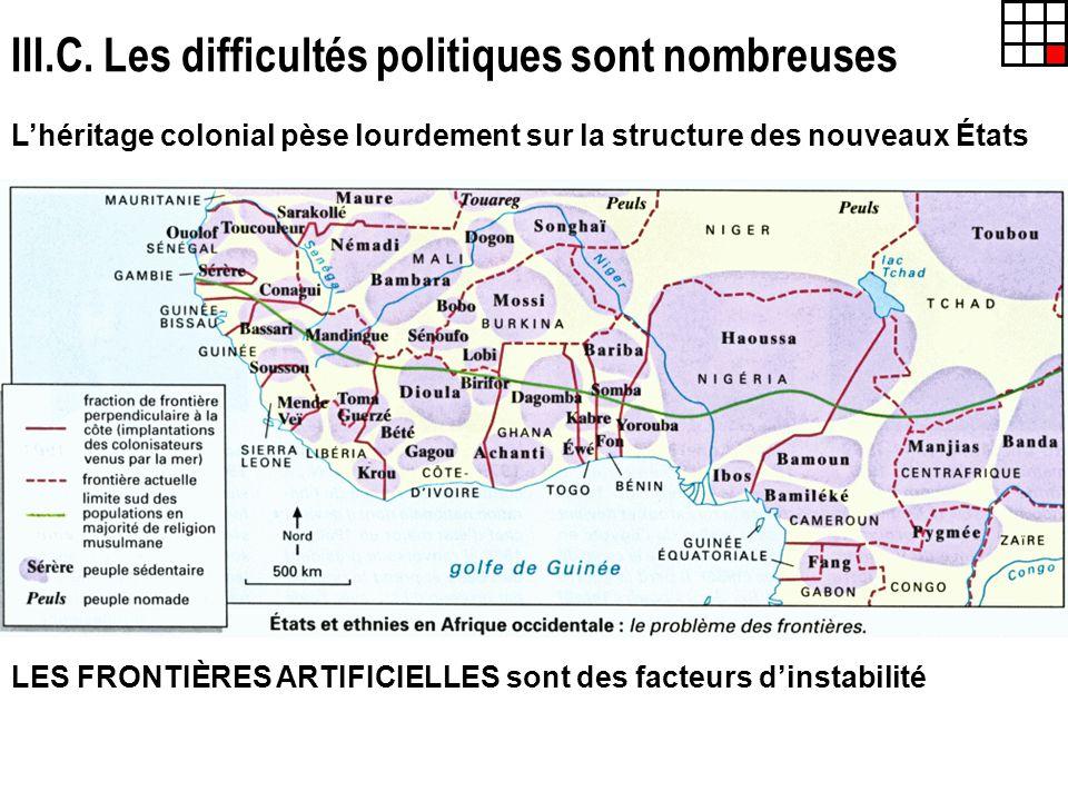 III.C. Les difficultés politiques sont nombreuses