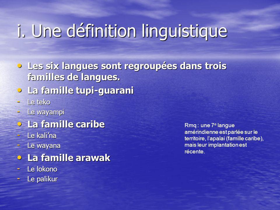 i. Une définition linguistique
