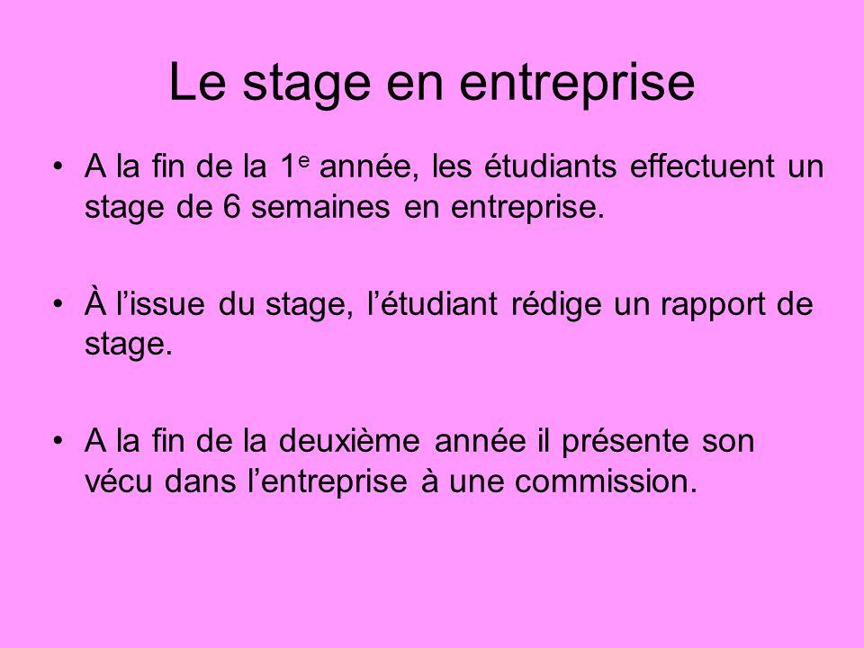 Le stage en entreprise A la fin de la 1e année, les étudiants effectuent un stage de 6 semaines en entreprise.