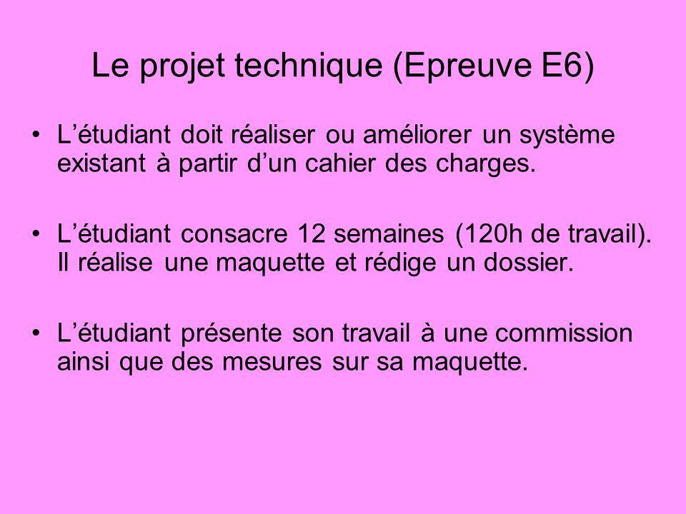 Le projet technique (Epreuve E6)