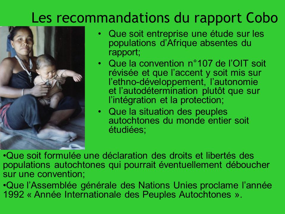 Les recommandations du rapport Cobo