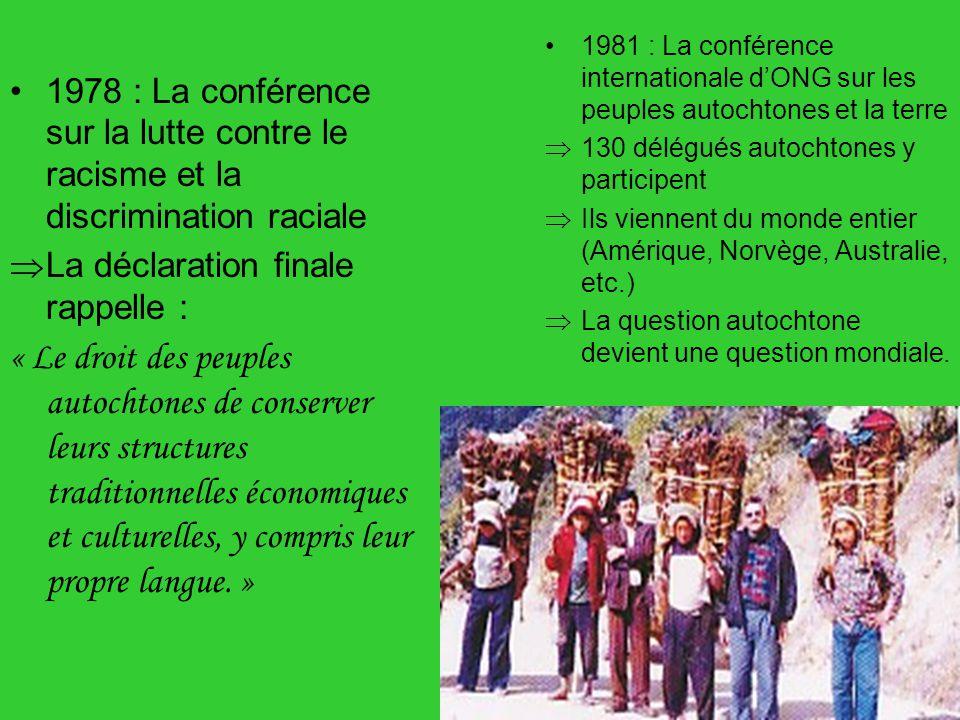 1981 : La conférence internationale d'ONG sur les peuples autochtones et la terre