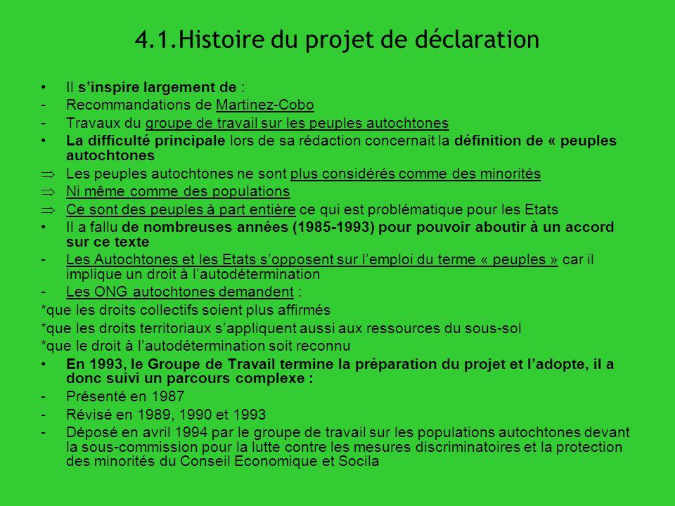 4.1.Histoire du projet de déclaration