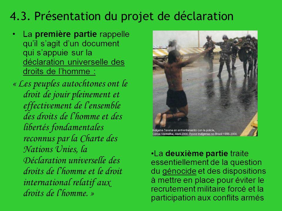 4.3. Présentation du projet de déclaration