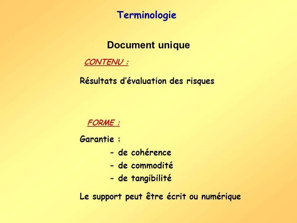 Terminologie Document unique Résultats d'évaluation des risques
