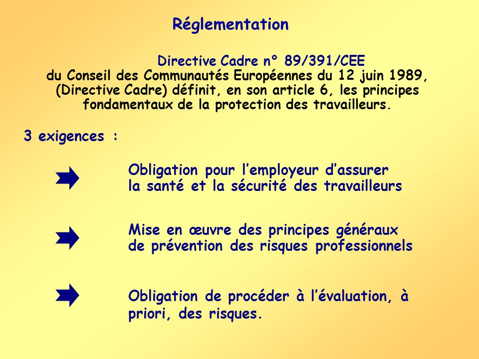Directive Cadre n° 89/391/CEE