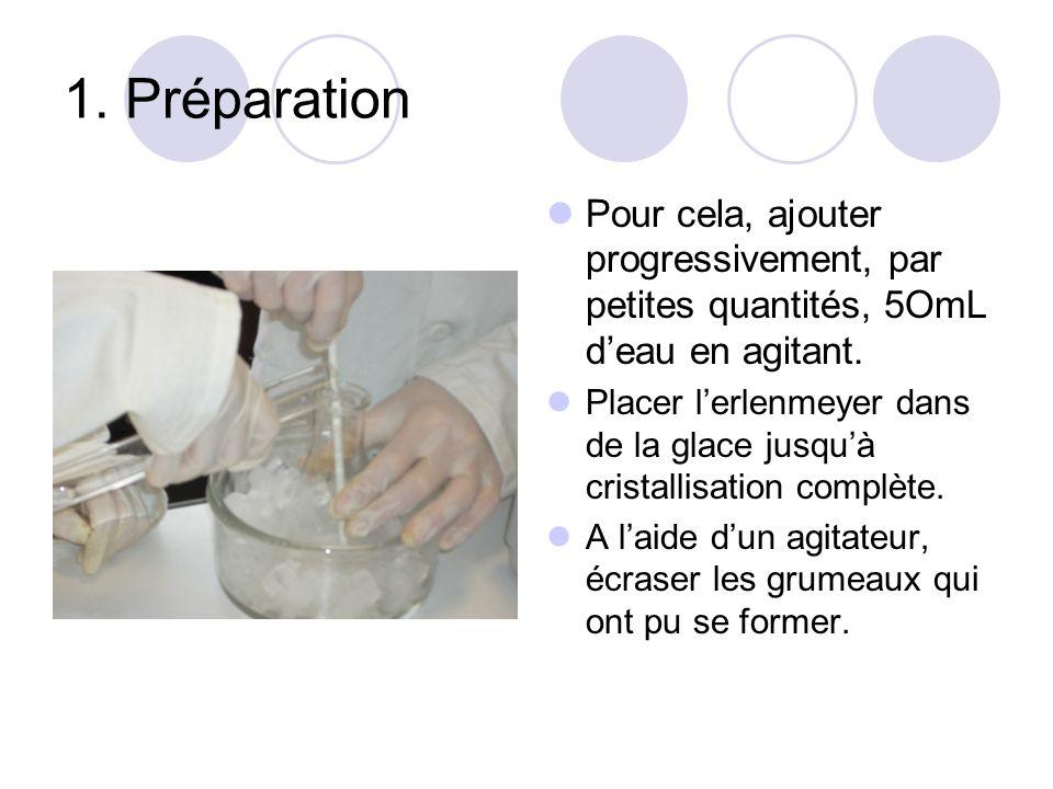 1. Préparation Pour cela, ajouter progressivement, par petites quantités, 5OmL d'eau en agitant.