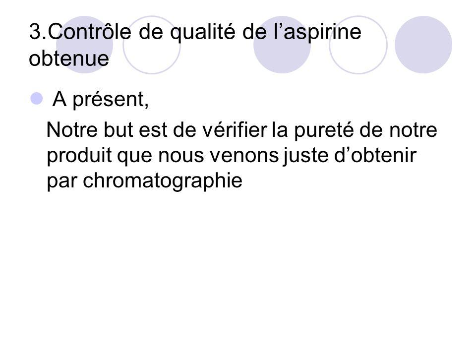 3.Contrôle de qualité de l'aspirine obtenue