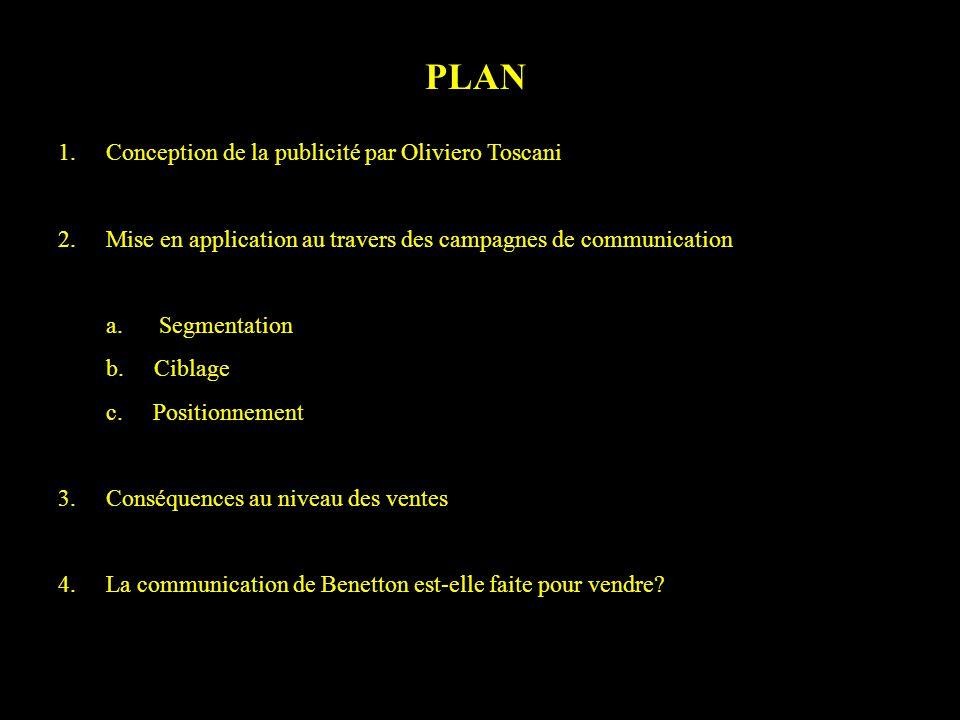 PLAN 1. Conception de la publicité par Oliviero Toscani