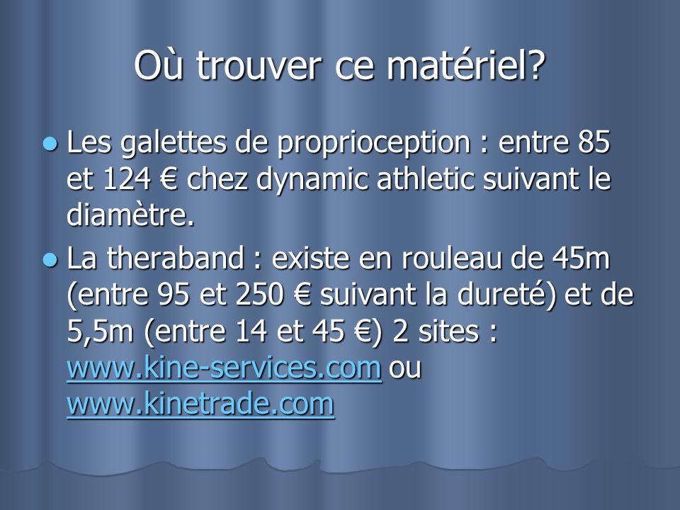 Où trouver ce matériel Les galettes de proprioception : entre 85 et 124 € chez dynamic athletic suivant le diamètre.