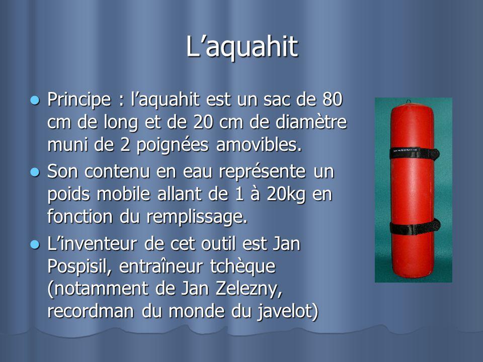 L'aquahit Principe : l'aquahit est un sac de 80 cm de long et de 20 cm de diamètre muni de 2 poignées amovibles.