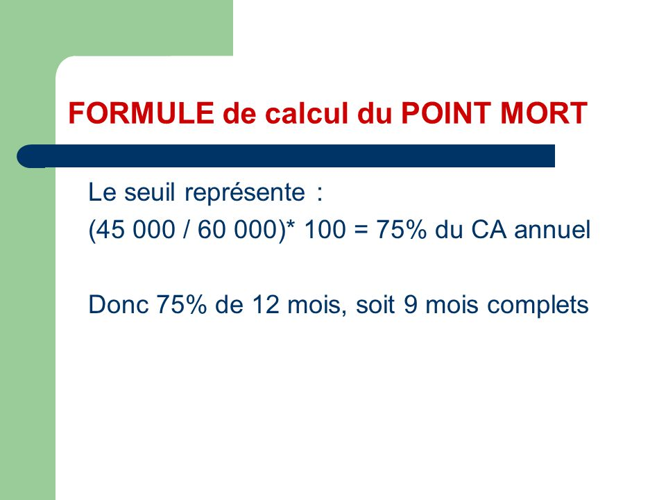 FORMULE de calcul du POINT MORT