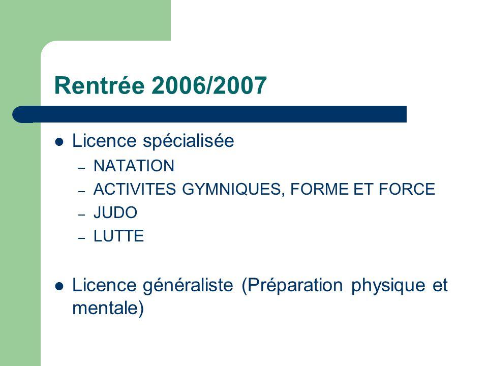 Rentrée 2006/2007 Licence spécialisée