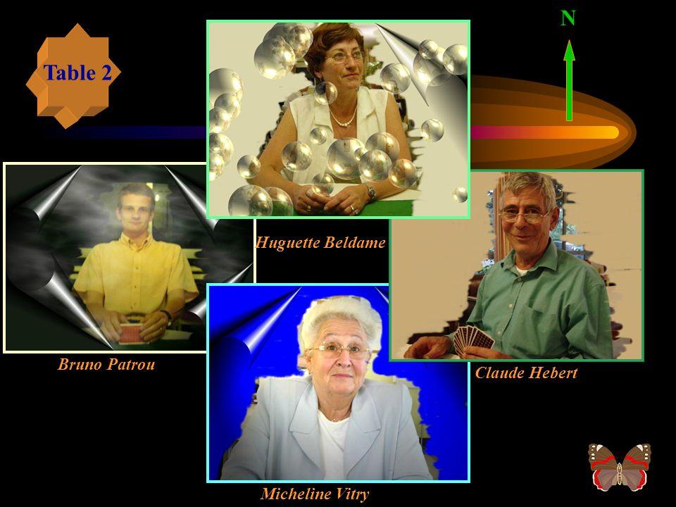 N Table 2 Huguette Beldame Bruno Patrou Claude Hebert Micheline Vitry