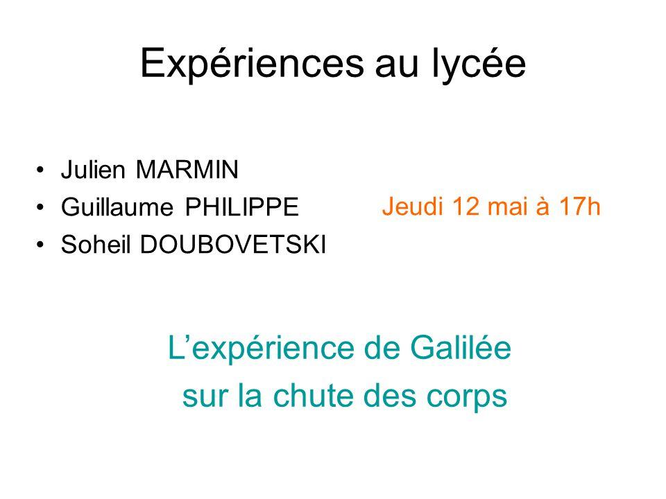 L'expérience de Galilée