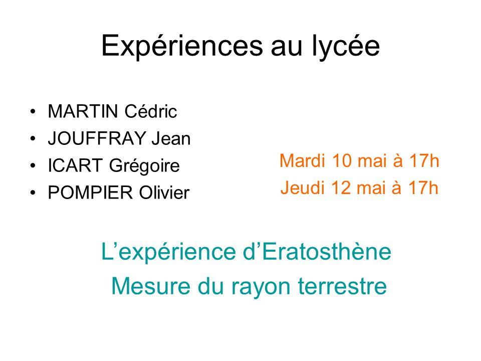 Expériences au lycée L'expérience d'Eratosthène