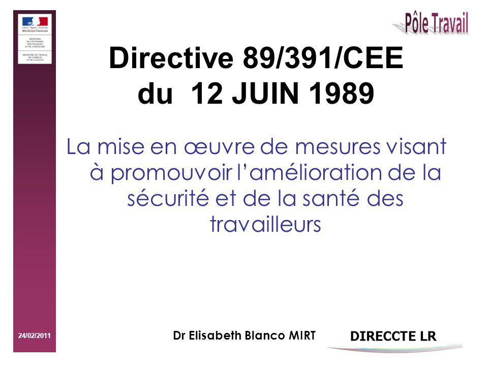 Directive 89/391/CEE du 12 JUIN 1989