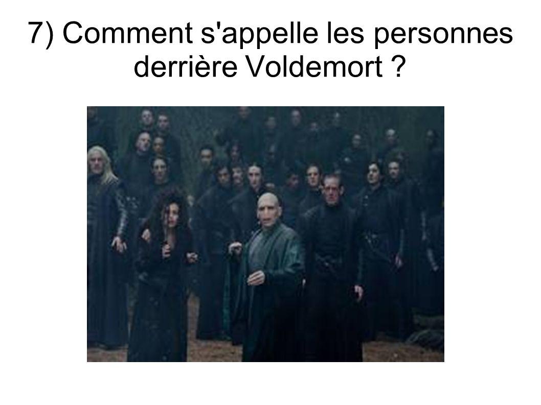 7) Comment s appelle les personnes derrière Voldemort