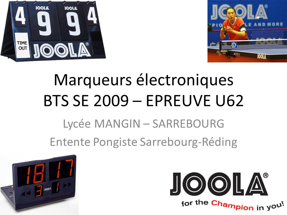 Marqueurs électroniques BTS SE 2009 – EPREUVE U62