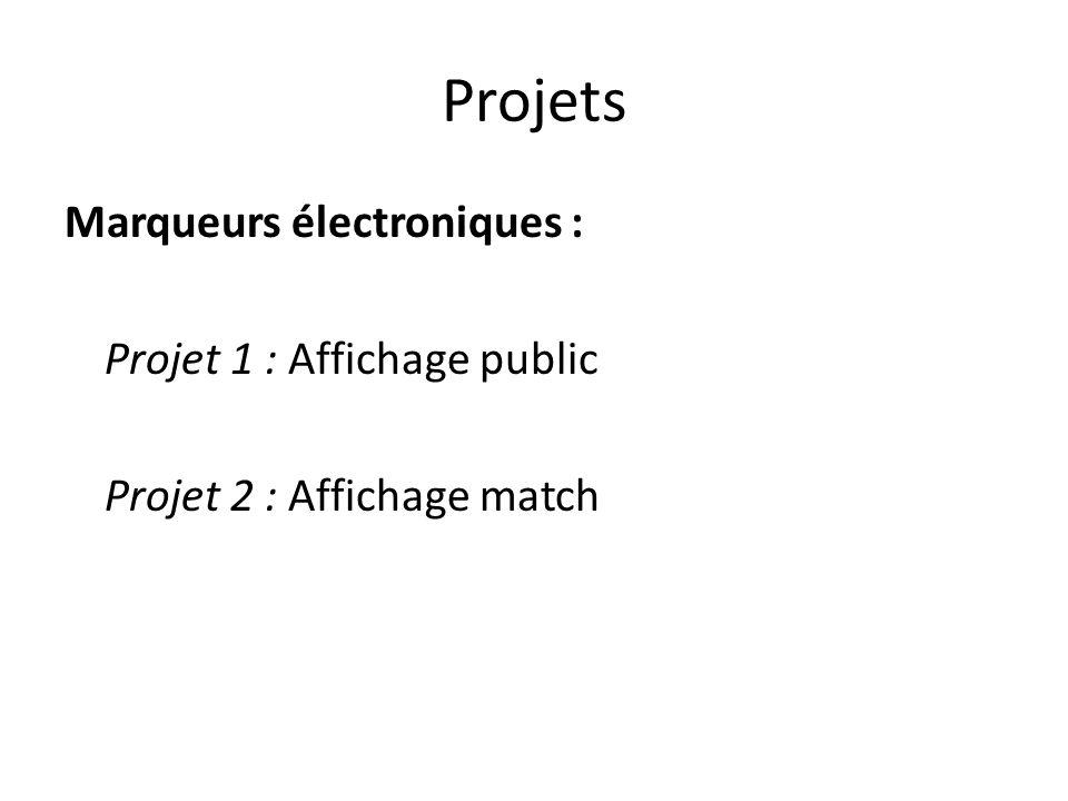 Projets Marqueurs électroniques : Projet 1 : Affichage public Projet 2 : Affichage match