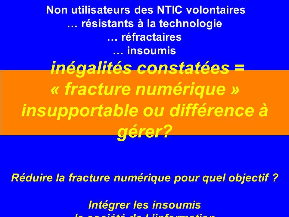 Non utilisateurs des NTIC involontaires Non utilisateurs des NTIC volontaires … résistants à la technologie … réfractaires … insoumis inégalités constatées = « fracture numérique » insupportable ou différence à gérer.