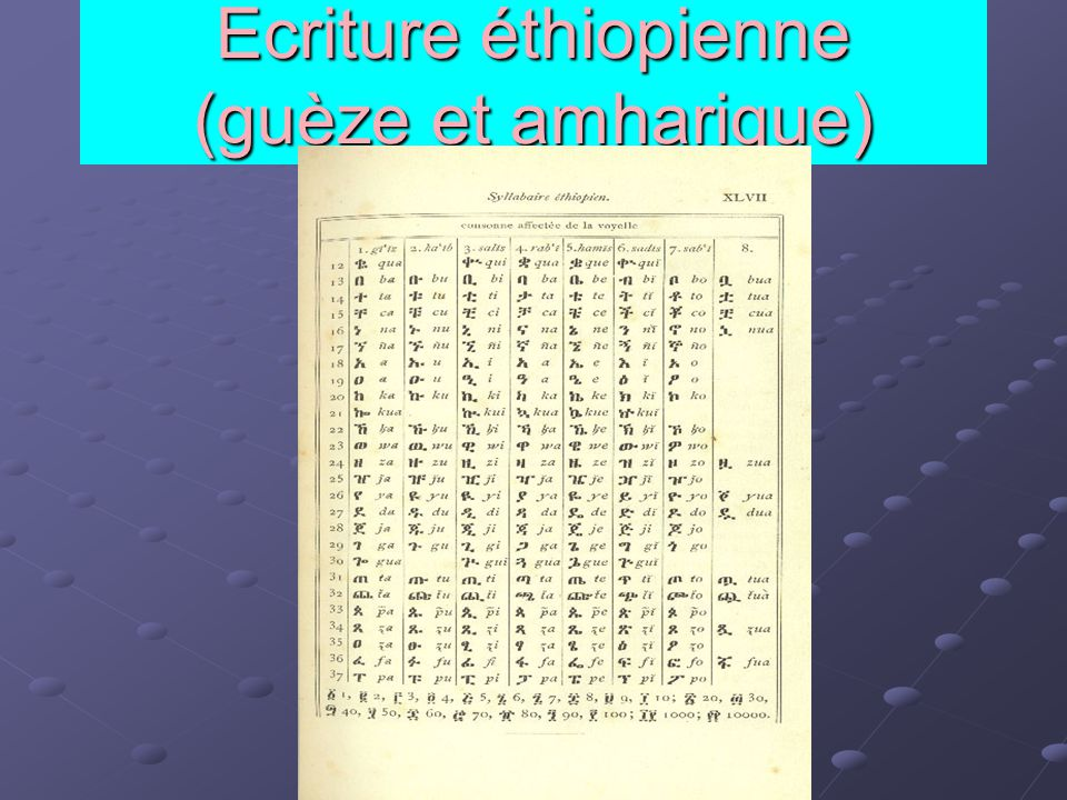 Ecriture éthiopienne (guèze et amharique)
