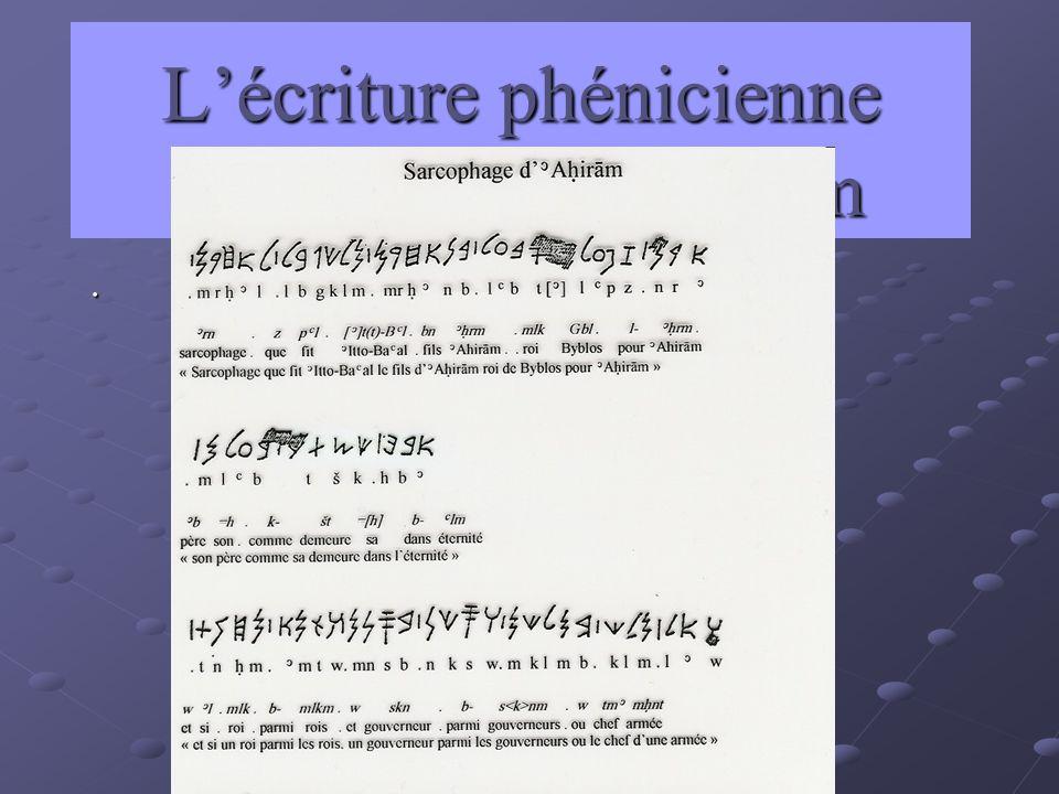 L'écriture phénicienne sarcophage d'Ahiram